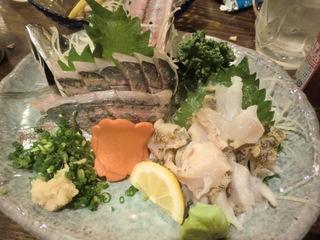 北海 アジとつぶ貝の刺身